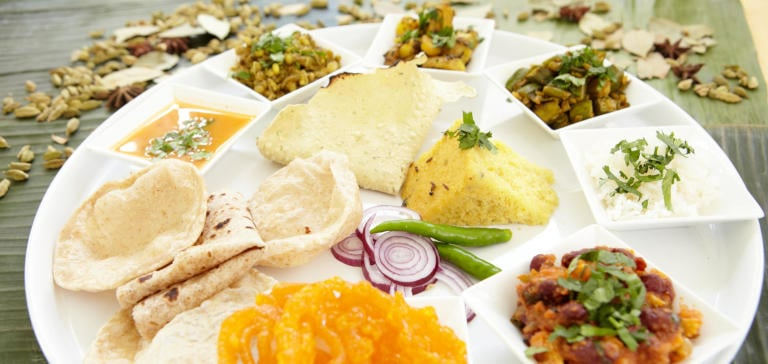 Contemporary Gujarati thali