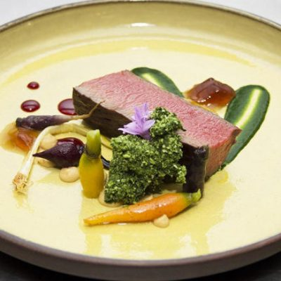 Poached and Roasted Venison Loin, Parsley Moss, Minus 8 Vinegar Jelly, Tiny Veg