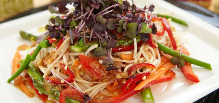 Soba and buckwheat noodle salad