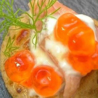Spiced Blinis with Smoked Fennel Trout