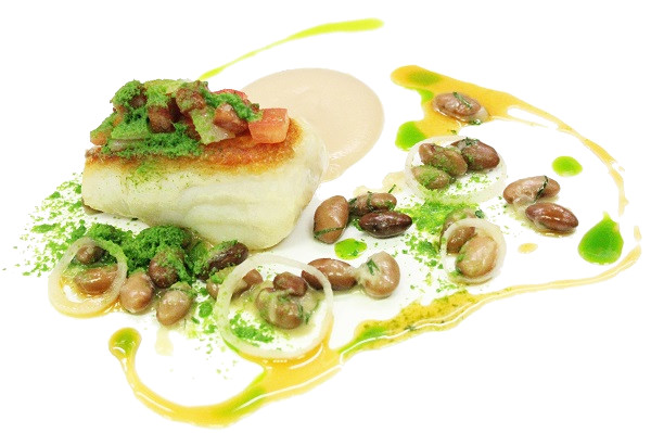 Roast Cod with White Bean Puree Parsley and Tomato