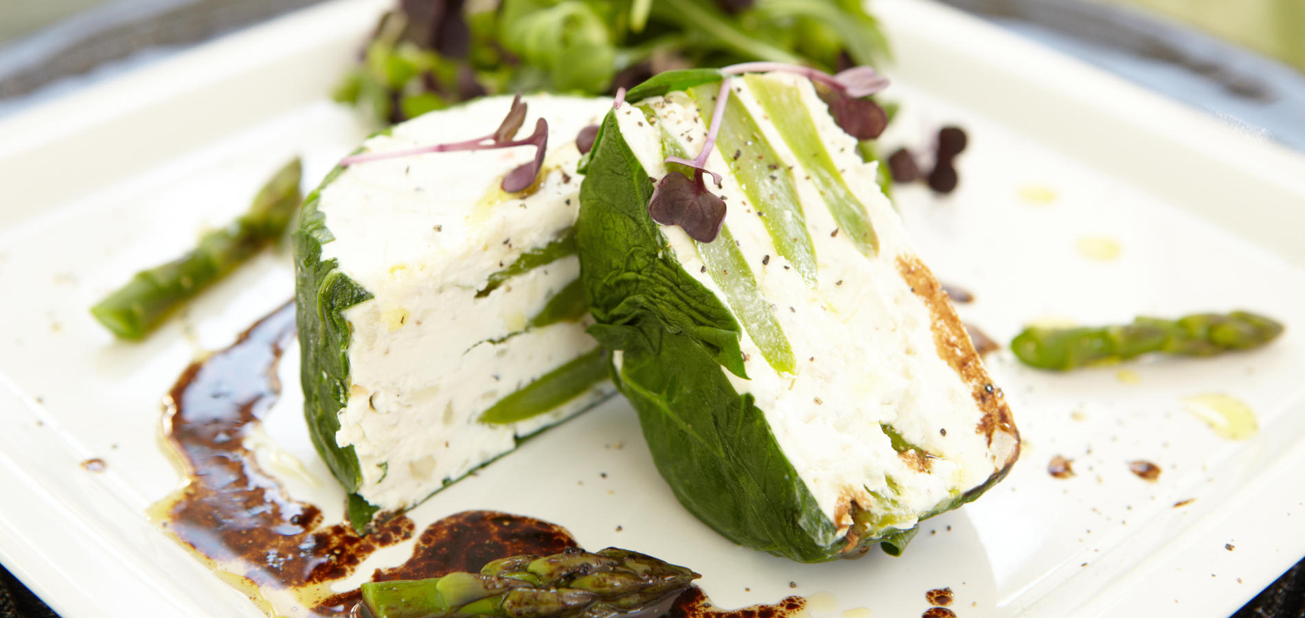 Asparagus and goats cheese terrine with mache and dill